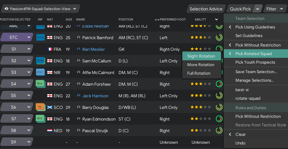 Football Manager squad selection guidelines