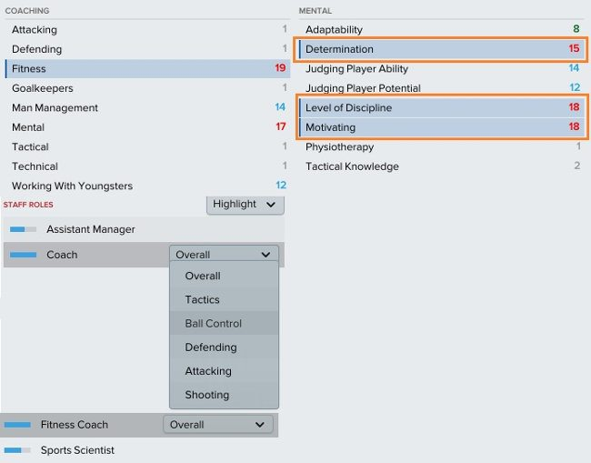 Football Manager staff attributes highlighted