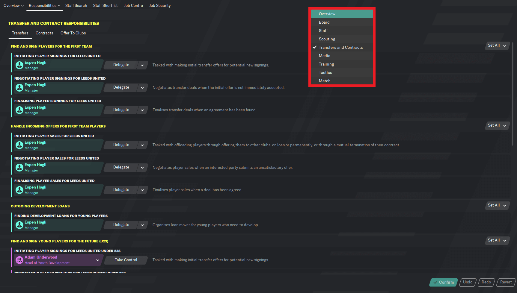 Football Manager staff responsibilities transfers contracts