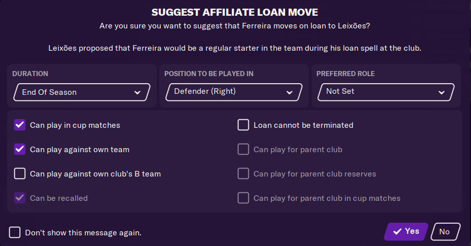 Suggest Affiliate Loan Move