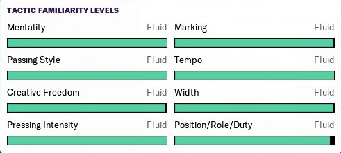 Football Manager tactical familiarity levels