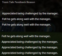 Football Manager Team Talk Feedback