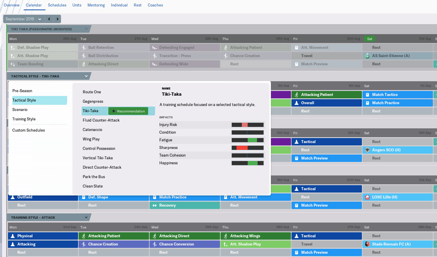 Setting up the Training Calendar in Football Manager