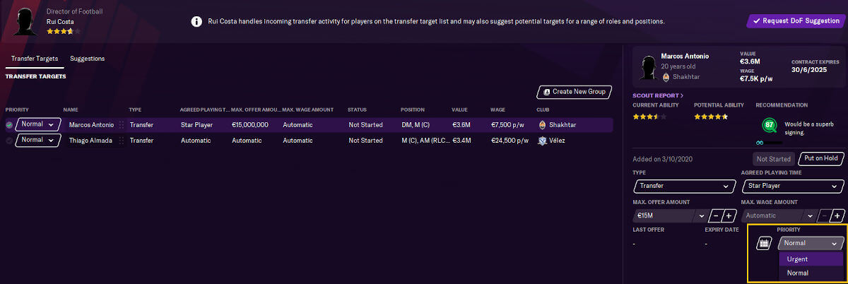 Adding players to transfer target list