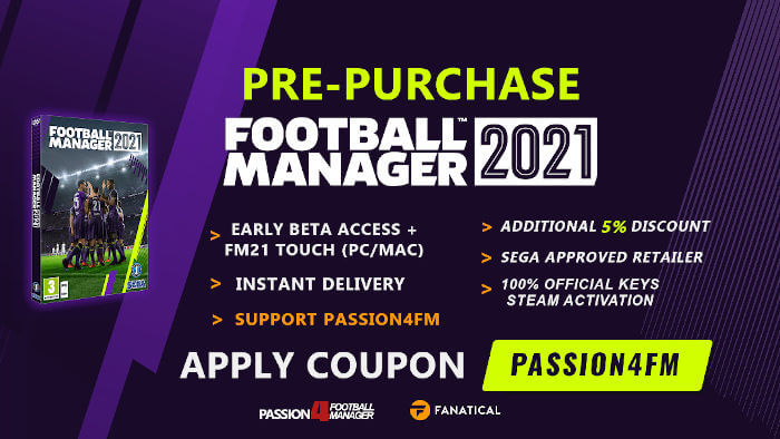Pre-Purchase Football Manager 2021 from Fanatical