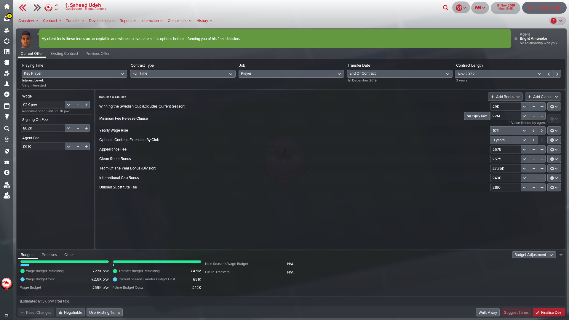 Contract agreed with Saheed Udeh in Football Manager