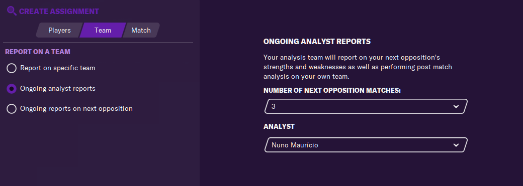 analyst report scouting assignement