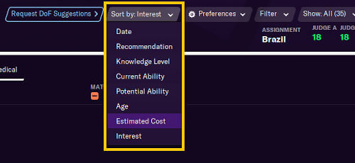 Ability to Sort recommendations by in scouting centre