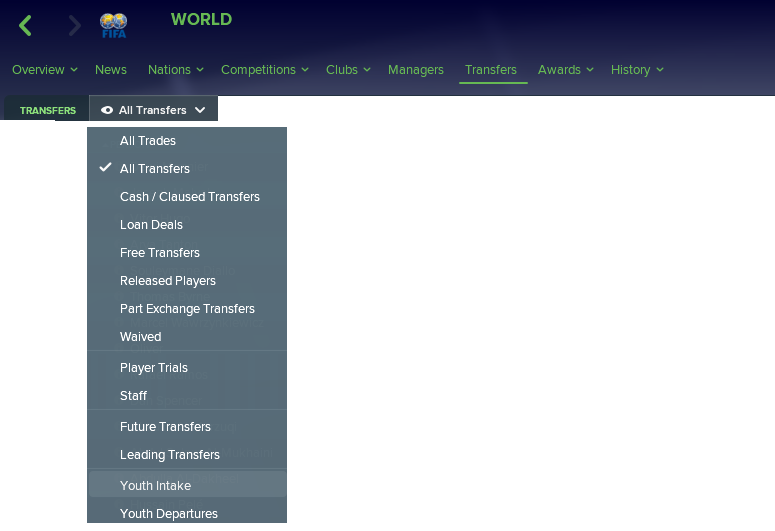 Transfers tab in FM18