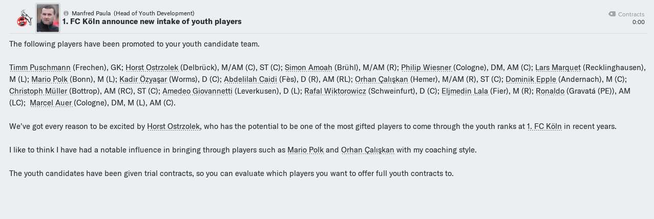 youth intake at 1. FC Köln in Football Manager 2019